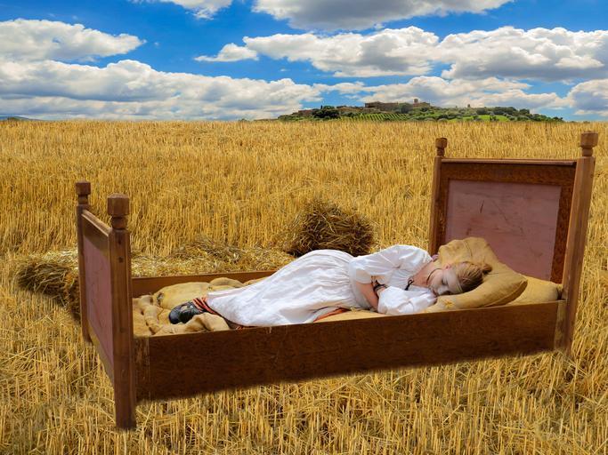 postel na poli